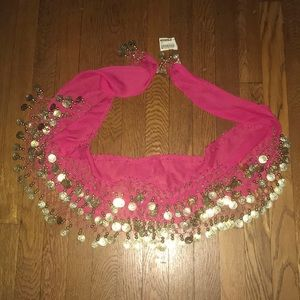 Fucia pink coin dangle scarf wrap NEW